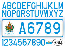 San Marino Republic car plate, letters, numbers and symbols. Vector file, illustration Stock Images