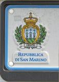 San Marino Republic Coat av armar på bilregistreringsskylten Royaltyfria Bilder