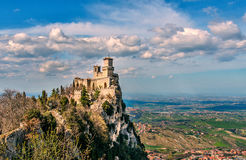 San Marino republika, Włochy Rocca della Guaita, średniowieczny kasztel Zdjęcia Royalty Free