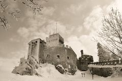 San marino's castle in winter Royalty Free Stock Images