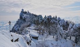 San marino's tower in winter Royalty Free Stock Photo