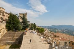San Marino, San Marino - 10 August 2017: A general view of a street in the city center of San Marino. San Marino, San Marino - 10 August 2017: A general view of Stock Photo