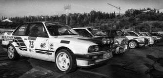 BMW M3 E30 1989 old racing car rally. SAN MARINO, SAN MARINO - OTT 21 : old racing car rally THE LEGEND 2017 the famous SAN MARINO historical race Royalty Free Stock Images
