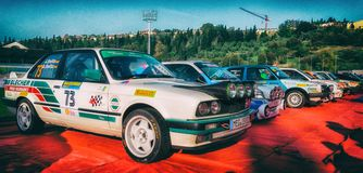 BMW M3 E30 1989 old racing car rally. SAN MARINO, SAN MARINO - OTT 21 : old racing car rally THE LEGEND 2017 the famous SAN MARINO historical race Royalty Free Stock Photography