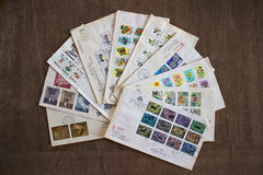 San marino stamps and envelopes. First Day Cover of San Marino stamps, mailed on the day of their release Royalty Free Stock Photos