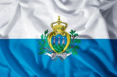 San Marino. Stylish waving and closeup flag illustration. Perfect for background or texture purposes vector illustration