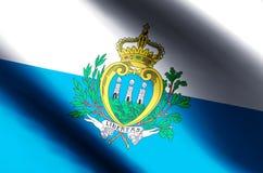 San Marino. Stylish waving and closeup flag illustration. Perfect for background or texture purposes stock illustration