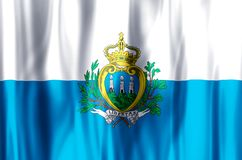 San Marino. Stylish waving and closeup flag illustration. Perfect for background or texture purposes royalty free illustration