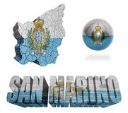 San Marino Symbols. San Marino flag and map in different styles in different textures Royalty Free Stock Image