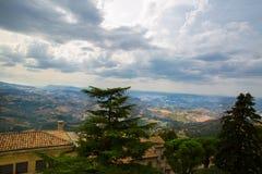 San Marino top view. Beautiful panoram of San Marino. Dark heavy stock images