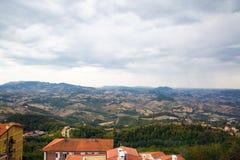San Marino top view. Beautiful panoram of San Marino. Dark heavy stock photo