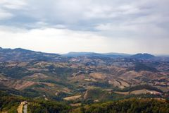 San Marino top view. Green meadow. Beautiful panoram of San Mari royalty free stock photography