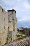 San Marino Tower courtyard. Detail on tower No. 1 with green courtyard of San Marino on Mount Titano, touristic detination Stock Photos