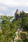 San Marino Tower No. 2. Pathway to tower No. 2 on Mount Titano, in San Marino, microstate in Europe Royalty Free Stock Photos