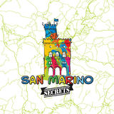 San Marino Travel Secrets Art Map Image libre de droits