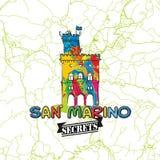 San Marino Travel Secrets Art Map Imagen de archivo libre de regalías