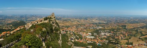 San Marino view. Valley and castle view from San Marino mountain Stock Photo
