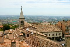 San Marino. View of the State-fortress of San Marino and the neighborhood Stock Photos