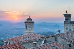 San Marino. View from Titano mountain at neighborhood Royalty Free Stock Image