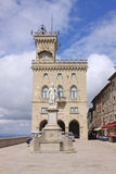 San Marino. View to the Palazzo Pubblicco and statue of Freedom at sunny day Royalty Free Stock Photography