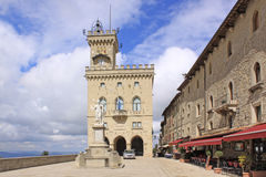 San Marino. View to the Palazzo Pubblicco and statue of Freedom Stock Photography