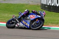 San Marino Włochy, Maj 12 -: Alex Lowes GBR Yamaha YZF R1 Pat Yamaha urzędnika drużyna SBK Rizla podczas WSBK Qualyfing przy Imol Obrazy Stock
