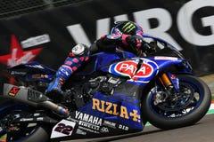 San Marino Włochy, Maj 12 -: Alex Lowes GBR Yamaha YZF R1 Pat Yamaha urzędnika drużyna SBK Rizla w akci przy Imola obwodem, Zdjęcia Stock