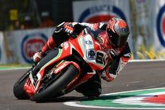 San Marino Włochy, Maj 11 -, 2018: Jordi Torres MV Agusta 1000 F4 MV Agusta Reparto Corse ESP drużyna w akci, Fotografia Royalty Free