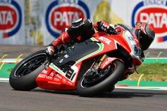 San Marino Włochy, Maj 11 -, 2018: Jordi Torres MV Agusta 1000 F4 MV Agusta Reparto Corse ESP drużyna w akci, Zdjęcie Stock