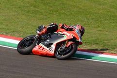 San Marino Włochy, Maj 11 -, 2018: Jordi Torres MV Agusta 1000 F4 MV Agusta Reparto Corse ESP drużyna w akci, Obrazy Stock