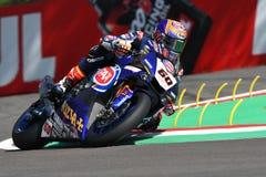 San Marino Włochy, Maj 12 -: Michael Samochód dostawczy Dera Zaznaczający NED Yamaha YZF R1 Pat Yamaha urzędnika drużyna SBK Rizl Obraz Stock