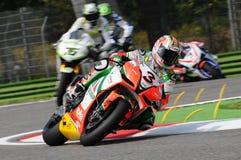 San Marino, Włochy - Sept 24, 2010: Aprilia RSV4 fabryka Aprilia Bieżna drużyna, jadąca Max Biaggi Fotografia Stock