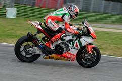 San Marino, Włochy - Sept 24, 2010: Aprilia RSV4 fabryka Aprilia Bieżna drużyna, jadąca Max Biaggi Obraz Royalty Free