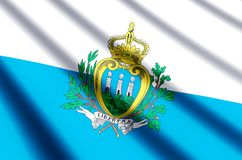 San Marino. Waving and closeup flag illustration. Perfect for background or texture purposes vector illustration