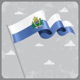San Marino wavy flag. Vector illustration. Royalty Free Stock Image