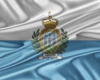 San- Marinoflagge mit einer glatten silk Beschaffenheit Lizenzfreie Stockfotografie