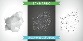San- Marinosatz Grau und polygonale Karten des Silbermosaiks 3d Grafische Vektordreieckgeometrieentwurfs-Schattenperspektive zeic Stockfotografie