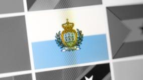 San- Marinostaatsflagge des Landes San- Marinoflagge auf der Anzeige, ein digitaler Wässerungseffekt stockbilder