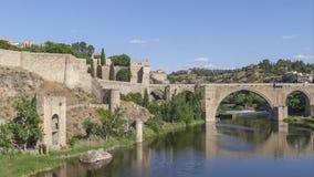 San Martin bridge in Toledo, Spain stock video footage