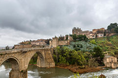 San Martin medieval bridge and Monastery in Toledo, Spain Stock Images