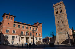 San Martin tower in mudejar style and public library on Perez Pr Royalty Free Stock Photos