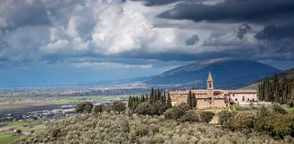 San Martino Monastery, Trevi, Úmbria, Itália imagens de stock