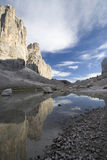 San Martino Mountains. The loneliness of the land of Pale San Martino in Dolomites Mountains Stock Photography