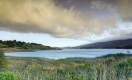 Stormy clouds over Upper Crystal Springs Reservoir. Royalty Free Stock Photo