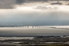 San Mateo-Hayward Bridge and Foggy San Francisco Peninsula, California, USA Royalty Free Stock Photo
