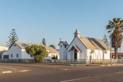 San Mathews Anglican Church nella baia di Walvis immagini stock