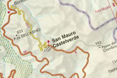 San Mauro Castelverde kaart De Eilanden Sicilië, Italië royalty-vrije stock afbeelding