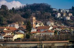 San Mauro torinese the old town. San Mauro torinese,Piedmont,Italy San Mauro Torinese San Mò in Piedmont is an Italian town of 18.922 inhabitants of the royalty free stock images