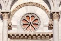 San Michele in Foro church facade detail Tuscany Italy Stock Image