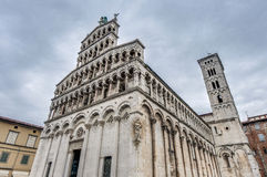 San Michele in Foro, a church in Lucca, Italy. stock images